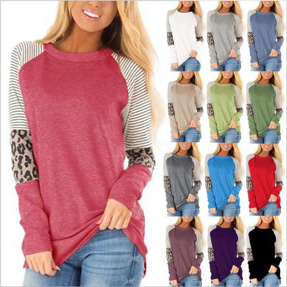 14styles Leopard listrado Maternidade Tees retalhos T-shirt para Collar Mom redondo mangas longa Tops casa Maternidade Roupa FFA3346