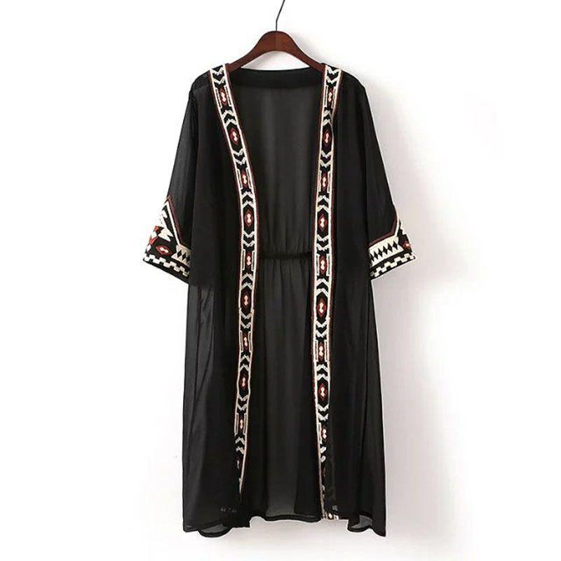 Moda donna Black Bianco Colore Geometrico Ricamo Geometrico Camicia etnica Cardigan Summer Sunscreen Kimono Blouss Camicette da donna