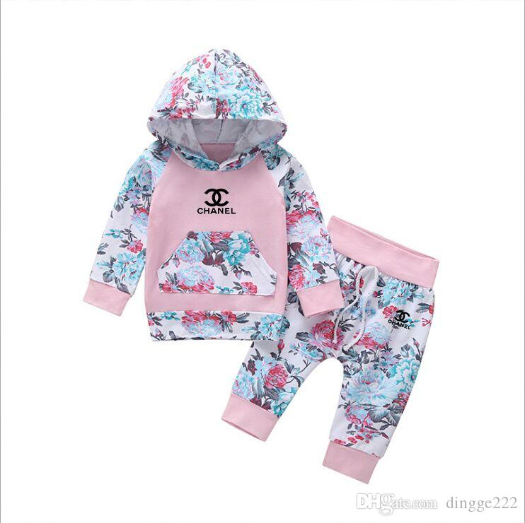 New Brand Baby girl Clothing Suits Autumn Casual Baby Girl Clothes Sets Children Suit Sweatshirts+Sports pants Spring Kids Set
