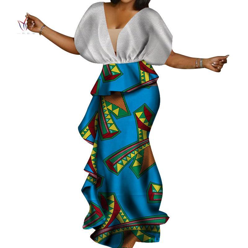Африканские платья для женщин Bazin Riche Ankara V-образным вырезом с рукавом летучая мышь с принтом длинные платья Vestidos Женская африканская одежда WY3638