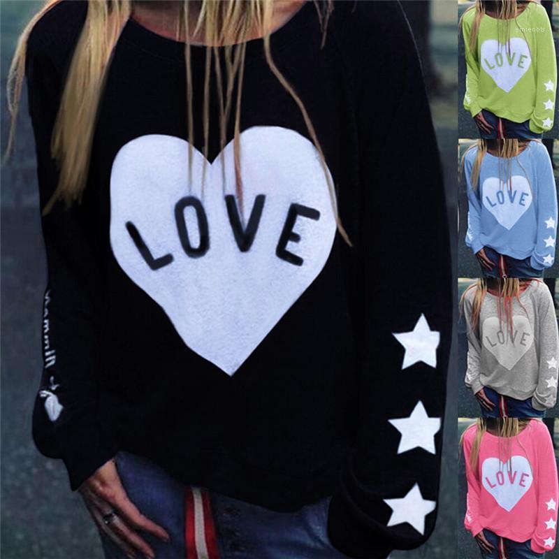 Automne Printemps Love Star Solid Color Femmes Floral Designer Sweats à capuche O manches longues en vrac Femmes Sweats à capuche