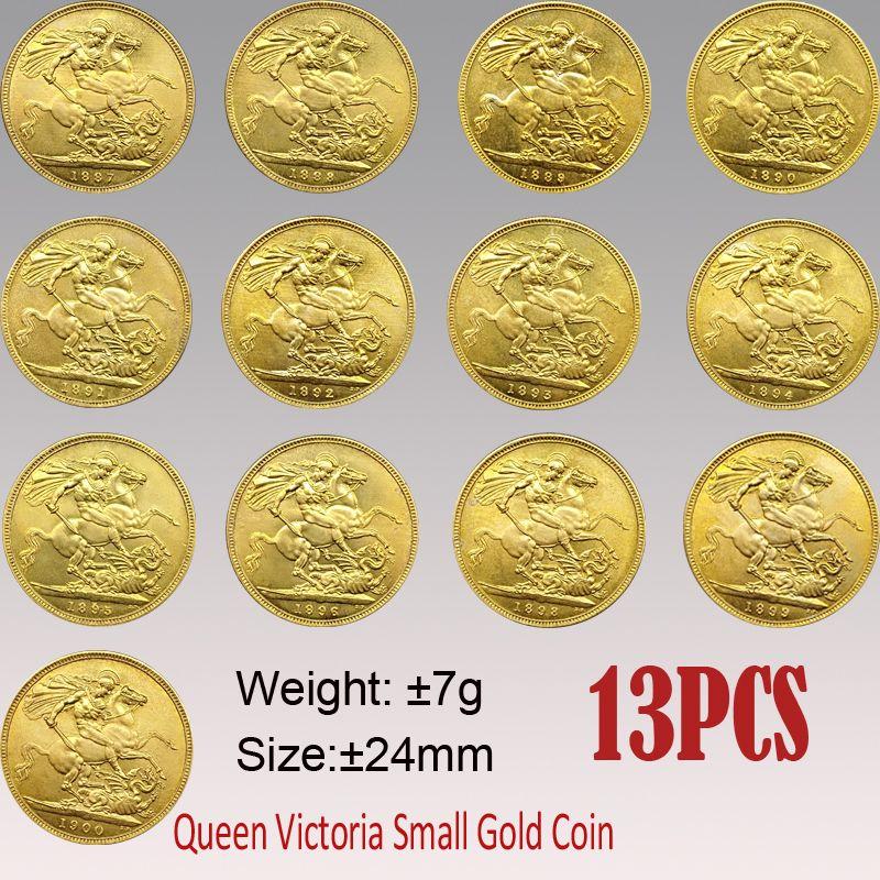 13PCS UK عملة 1887-1900 فيكتوريا السيادية نسخ عملات 24MM الذهب الصغيرة العملات النادرة المعادن كوين
