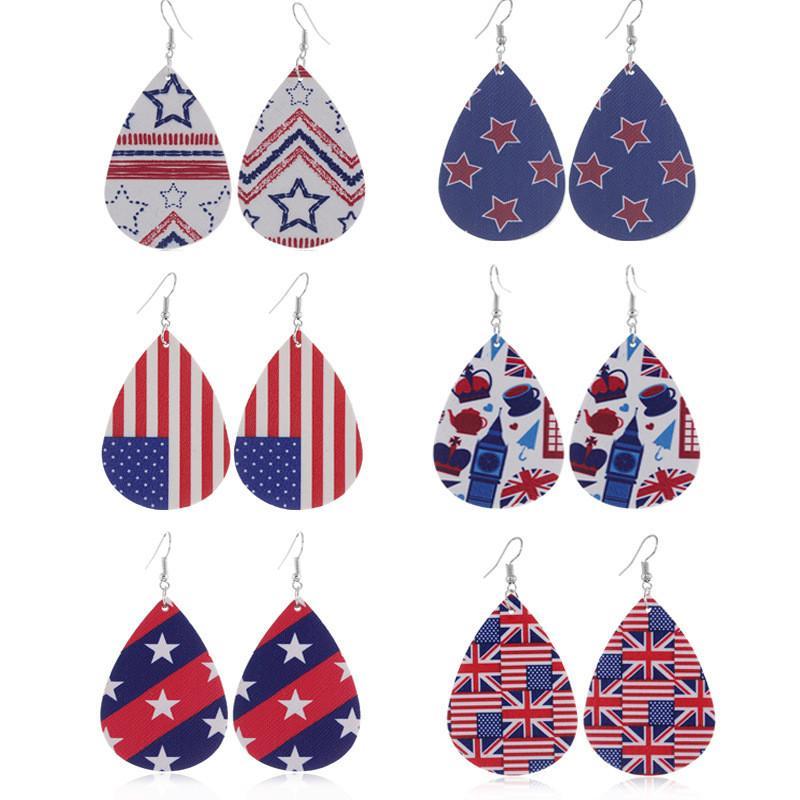 Bandeira americana na moda de impressão Padrões estrela listras de couro falso Teardrop Brincos para Mulheres Waterdrop Independence Day Jewelry Brincos