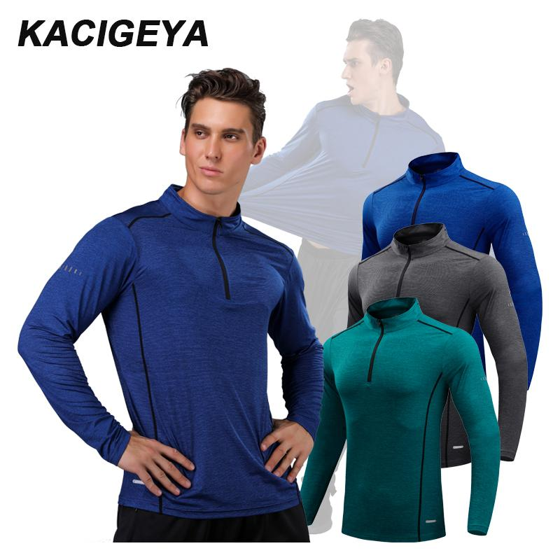 Running Long Shirts Men Quick Dry Workout Compression Sports Gym Exercises 2018 Outdoor Mountaineer Training Shirts Hot Man T200327