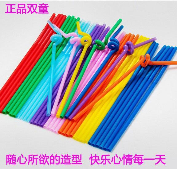 100pcs / lot Renkli Payet Plastik Sanatlar Payet Uzun Dirsek Suyu İçecek Pipet Toptan
