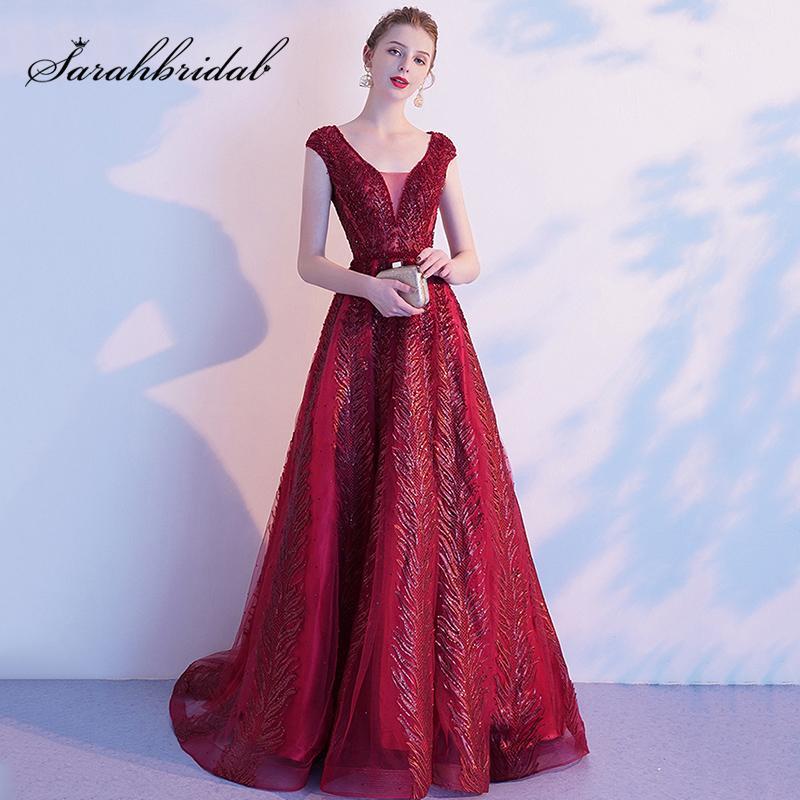 High-End вина Красные вечерние платья 2019 осень / зима Современная V-образным вырезом Благородный Темперамент дамы Long Luxury Party платье L5607