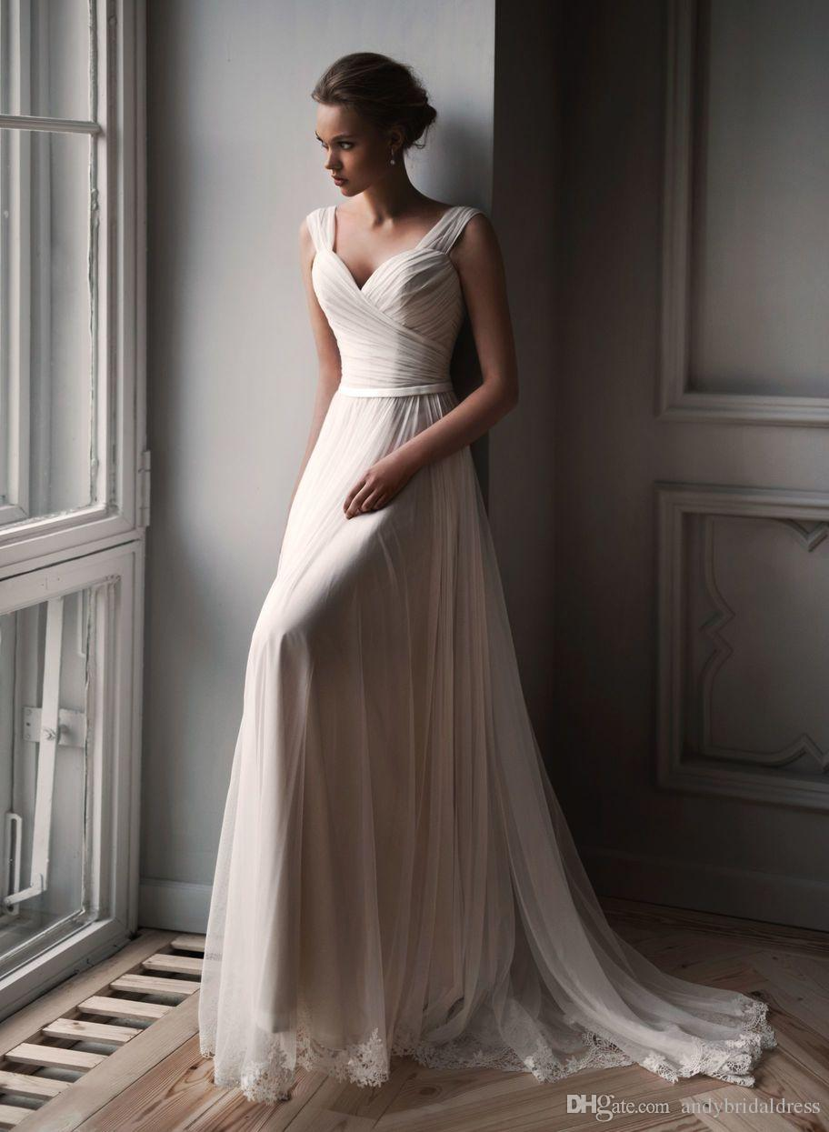Double Straps Pleated Tulle Wedding Dress Bridal Gown 2019 A Line Sweetheart Cheap Bridal Dress With Appliques Hem