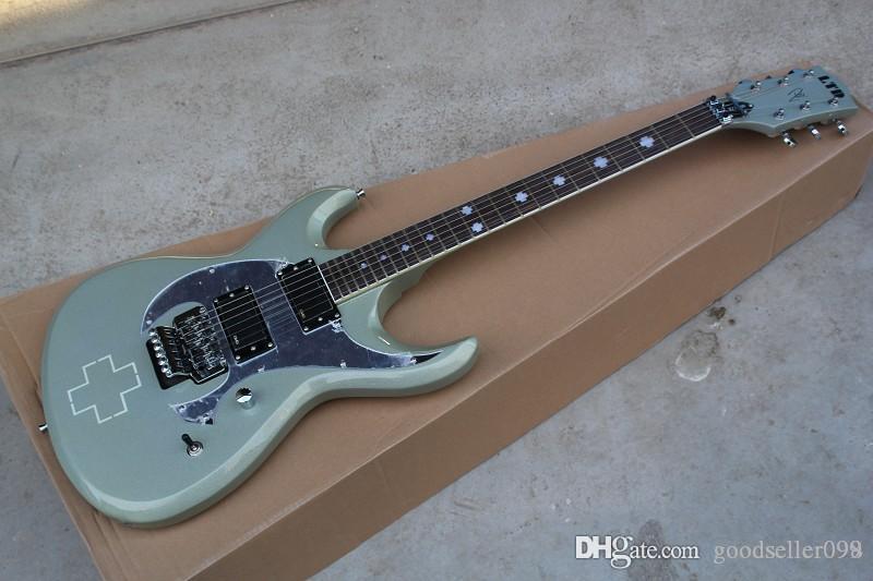 Envío libre CALIENTE mayor de la alta calidad de la tienda de encargo LTD gris plata guitarra eléctrica del jazz pick-up