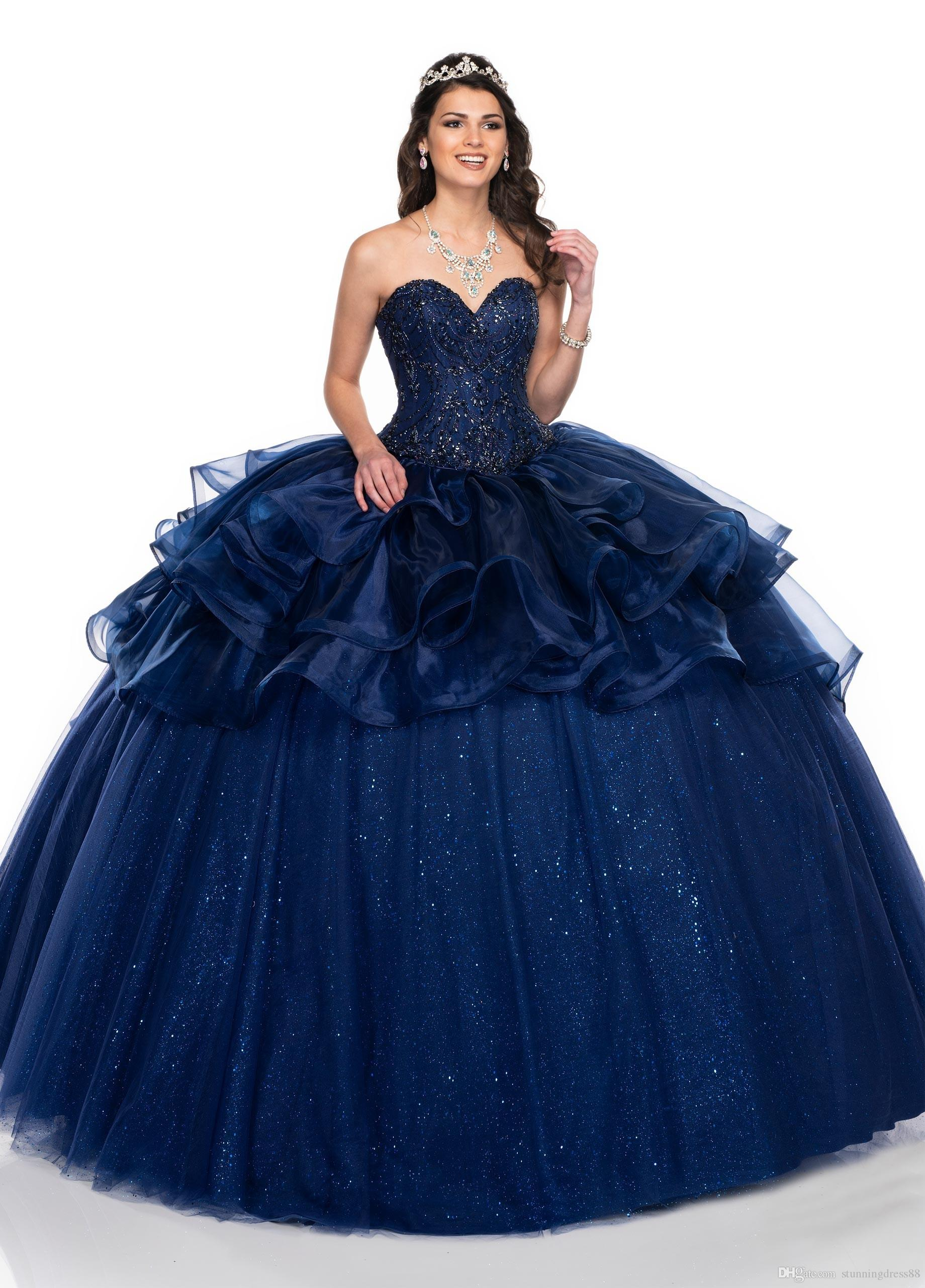 2020 Bling Navy Blue Ball Gown Ruffles Cheap Quinceanera Prom Dresses  Sweetheart Sweet 15 Dress Crystal Organza Masquerade Evening Gown  Quinceanera