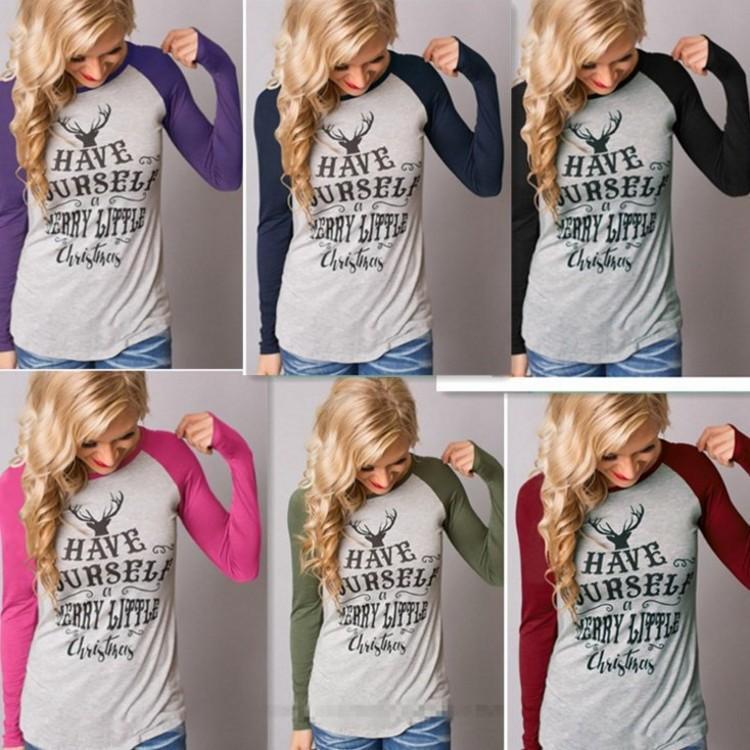Natal Camiseta de manga longa Mulheres Womens Grey Tops Outono Camiseta Mulheres Fashion Style T-shirt de algodão New Plus Size Camiseta 2pcs / lot