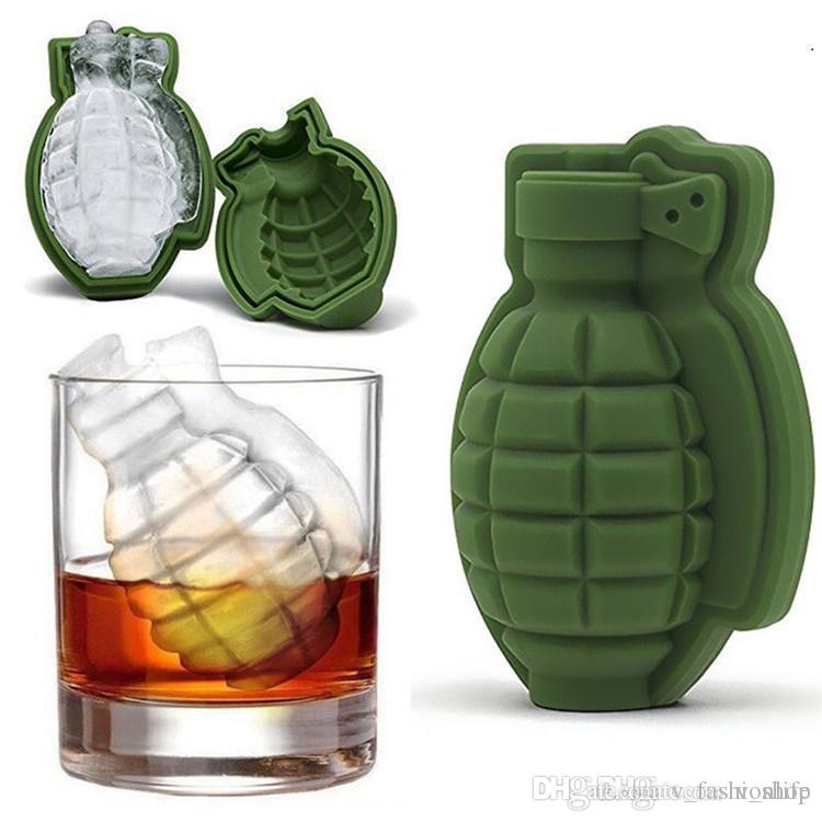 50Pcs 3D Grenade Shape Ice Cube Mold Creative Ice Cream Maker Party Drinks Silicone Trays Molds Kitchen Bar Tool Mens Gift