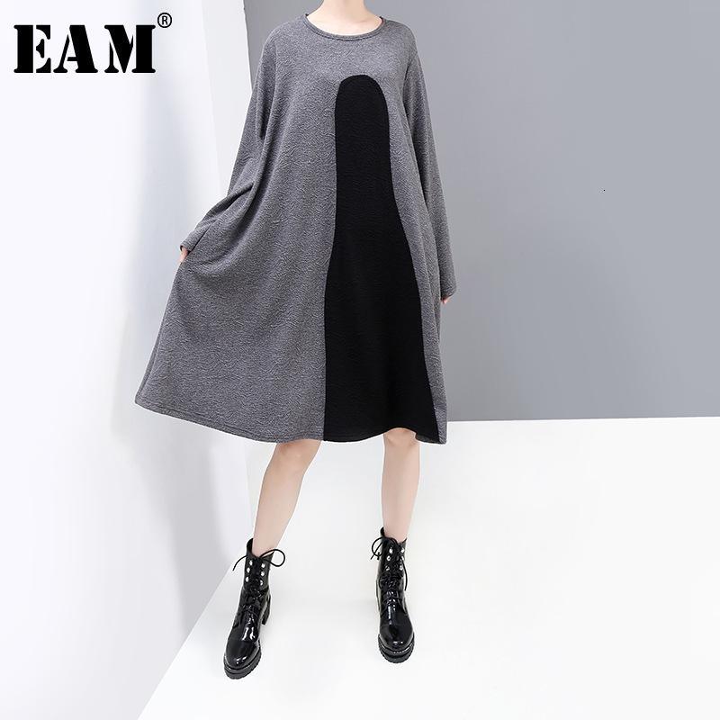 [EAM] Женщины Контраст Цвет Серый Большой размер платья Новый шею длинным рукавом Сыпучие Fit Мода Tide весна осень 2019 1K244
