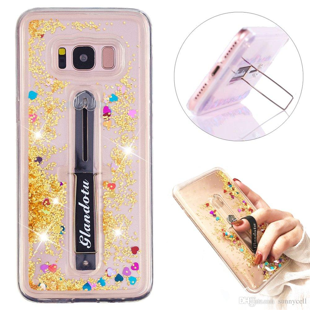 For Samsung S7 S8 Edge S7 H G935 Luxury Glitter Liquid Water Bling Quicksand Scalable Ring Buckle Shock Absorbing With Kickstand Cover Case