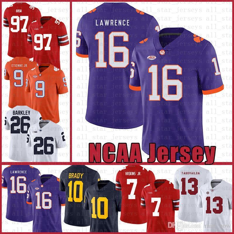 Клемсон Тигры Американский футбол Джерси 16 Тревор Лоуренс 9 Travis Etienne младший спорт носит оранжевый Tom Brady Saquon Баркли