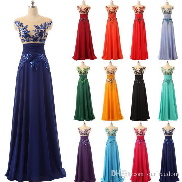 Sous 50 $ Elégante plancher de plancher robes de soirée en mousseline de soirée de soirée avec appliques et cristaux robes de bal chaude SD159