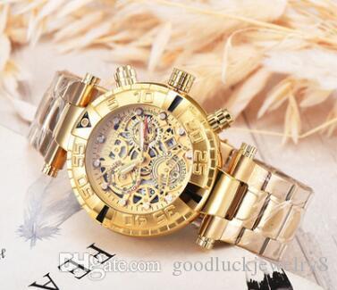 Mens Sports Quartz Invicta Relógios Homens Relógio de ouro grande da cara de aço inoxidável Relógios de pulso Relogio Masculino venda quente