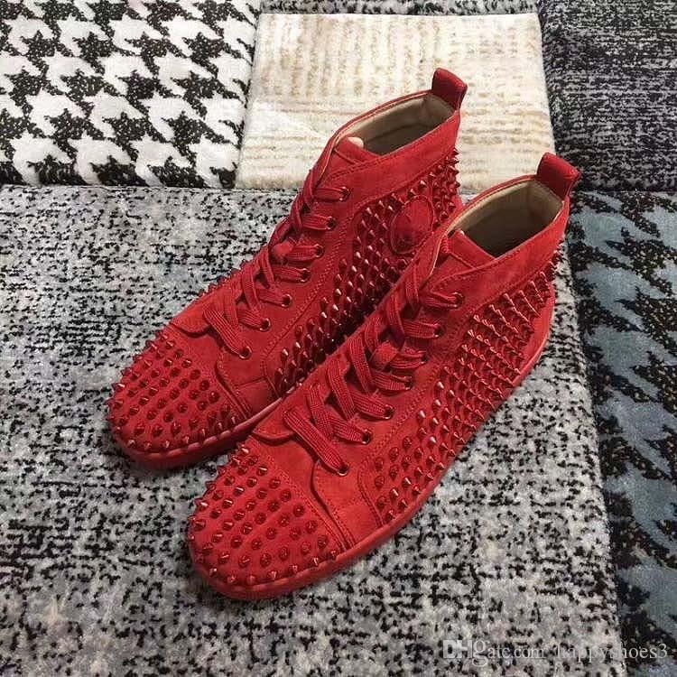 Erkekler ve Kadınlar ayakkabı kovboy Martin Parti kristal Deri Sneakers K5 İçin YENİ Kırmızı Alt Sneakers Matkap tırnak ayakkabı Yüksek çete Süet başak ayakkabı