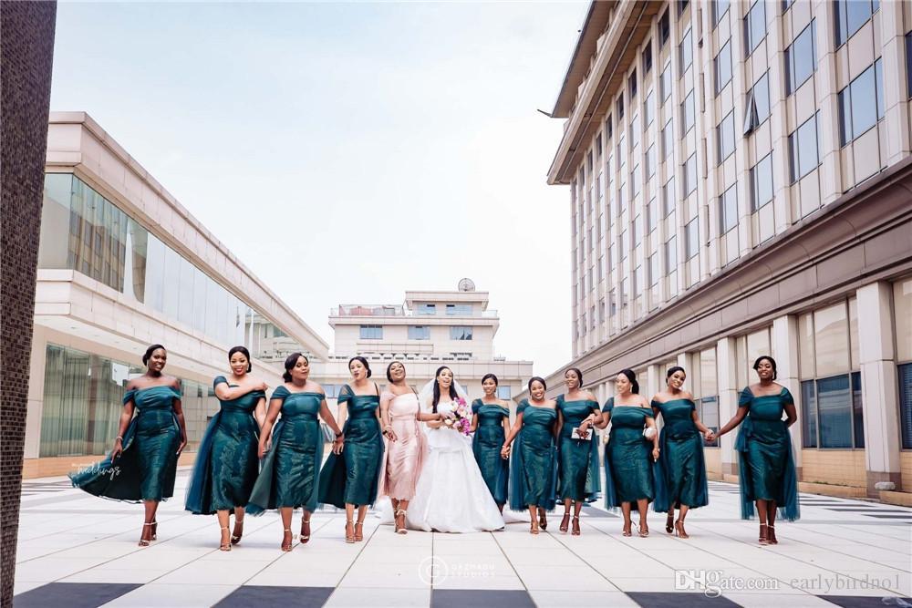 مثير الظلام الأخضر قبالة الكتف غمد فستان العروسة الأفريقية رخيصة الرباط appliqued ثوب الزفاف ضيف الشاي طول مساء حفلة موسيقية اللباس