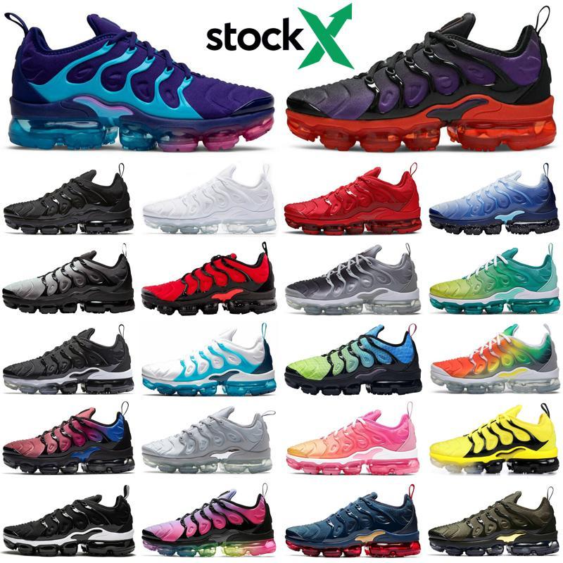 nike air vapormax plus tn neon stock x homens mulheres tênis de corrida triplo preto ser verdadeiro atlético dos homens formadores das mulheres tênis esportivos corredores