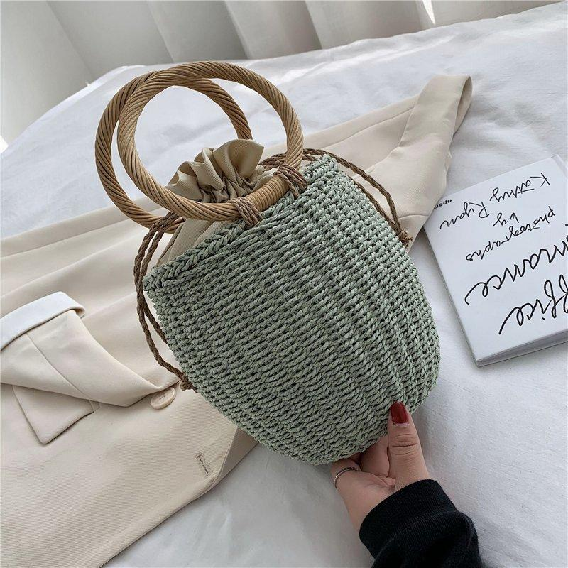 Mini woven rope handbags round bucket hand woven totes bags small beach vacation handbags ladies summer hollow bohemian