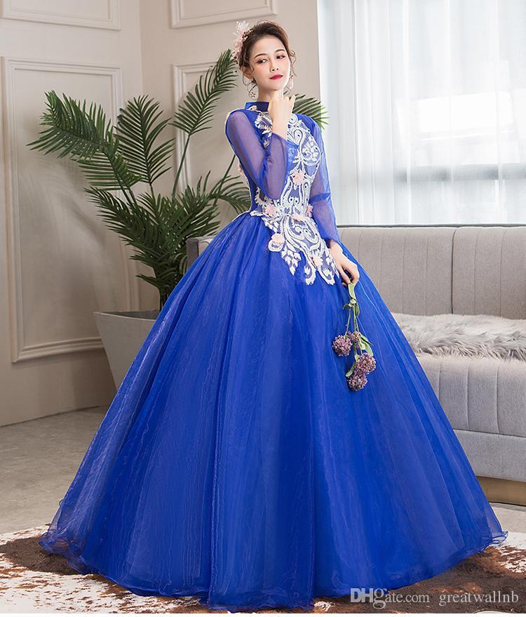 100% vera manica lunga Royal Court blu abito da ballo abito medievale abito rinascimentale sfera Belle Victorian