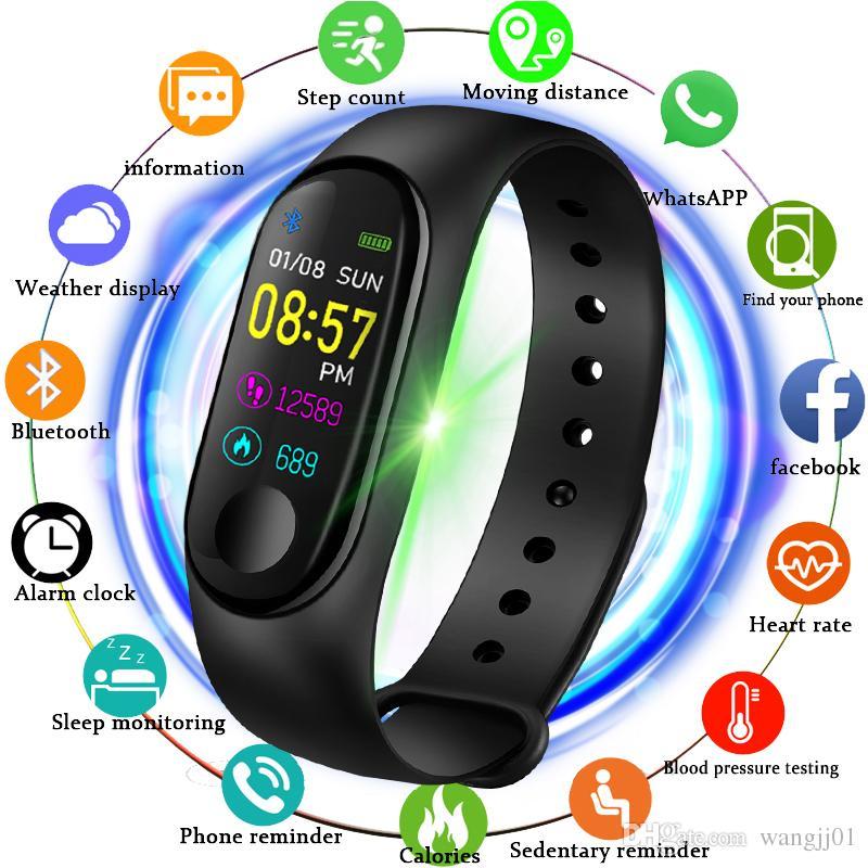 Últimas Pressão M3X relógio inteligente Heart Rate Monitor de Sangue Sports Tracker Pulseira Homens Mulheres 2019 novo