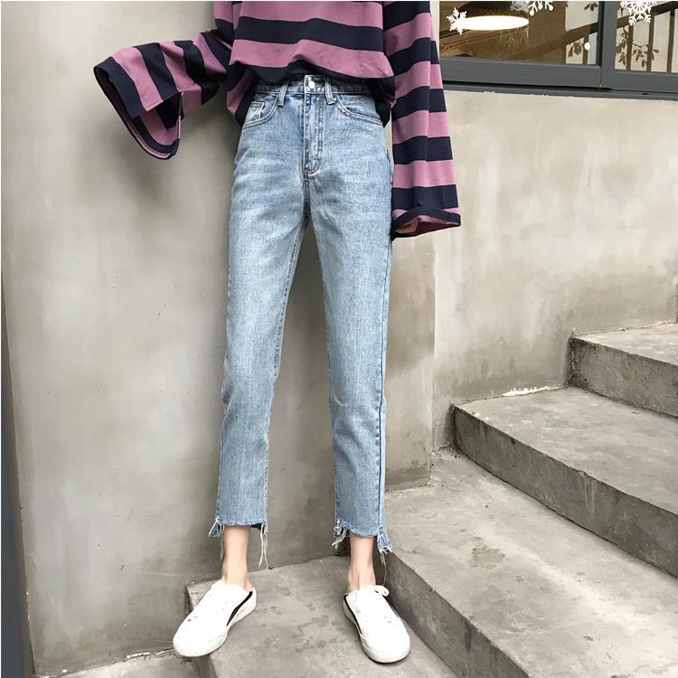 Blu Grigio allentata femminile Jeans Split Personality Gambe Rich