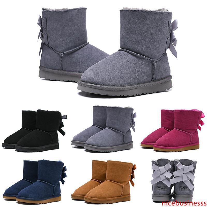 Lüks çocuk çizmeler Wgg Avustralya klasik kar tasarımcı çizmeler kız erkek çocuk Bailey Yay Ayakkabı Ayak Bileği kış Patik 26-35 sıcak tutmak