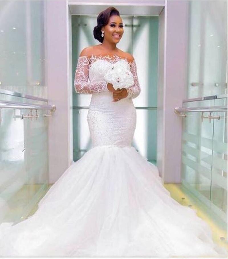 Elegant Long Plus Size Wedding Gowns Mermaid Long Sleeves Appliques Lace  Sheer Bateau Bridal Dresses Western Maxi Dress For Big Size Brides Designer  ...