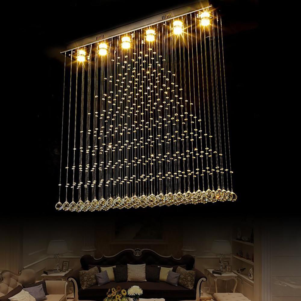 الحديثة الكريستال الكروم الثريا الإضاءة لتناول الطعام غرفة المستطيل دافق جبل الصمام الكريستال مصابيح مصابيح المطبخ جزيرة
