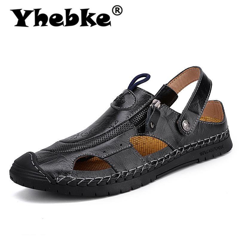 Yhebke hombre sandalias de verano 2020 hombres del cuero genuino de la playa romana sandalias al aire libre para los hombres más del tamaño 38-48 Flip Flops