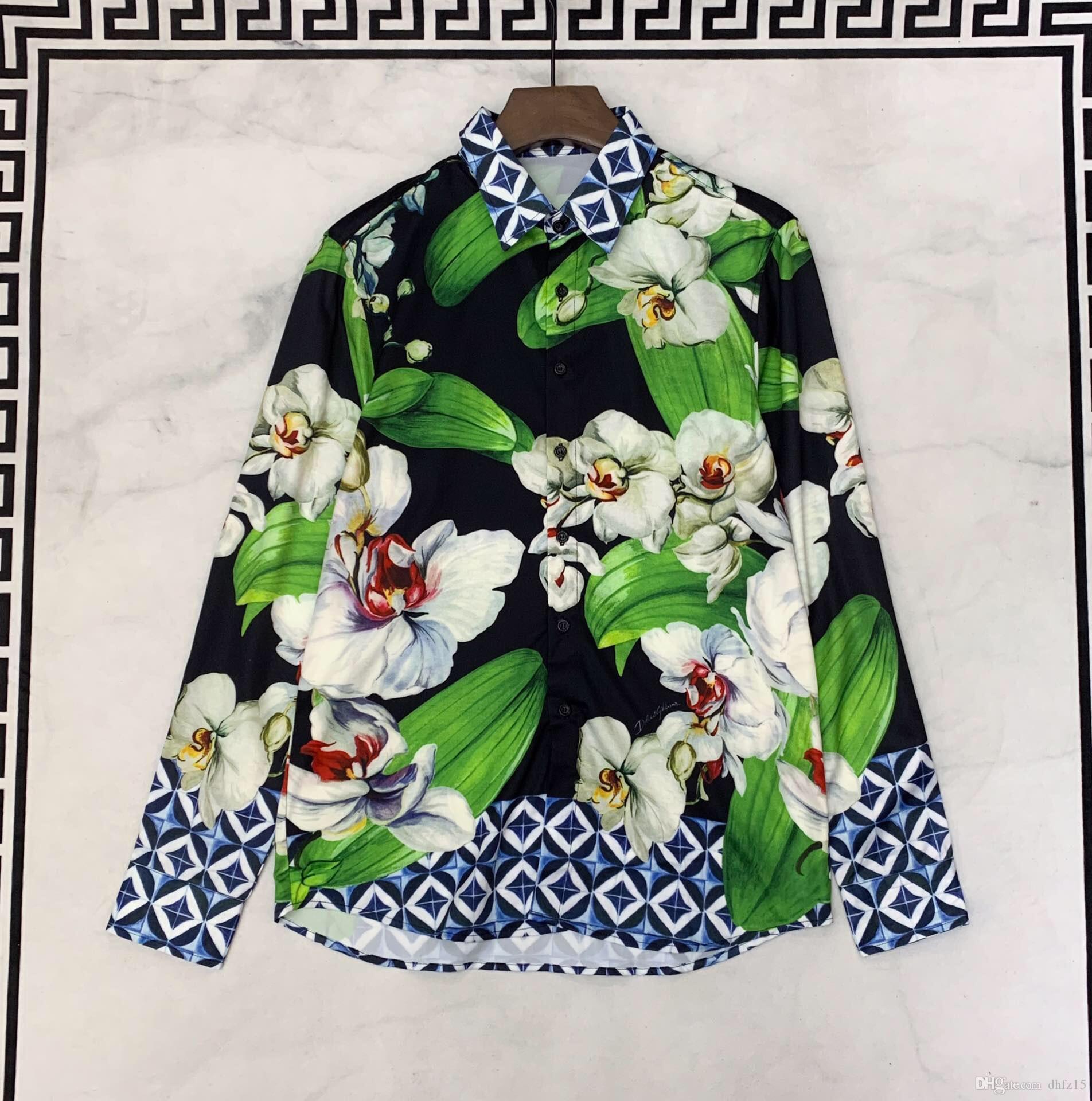 2019 Nouveau Luxe Hommes Chemise Décontractée motif Designer Mode Chemises Hommes Designer Manches Longues Floral vêtements sociaux Camisa Vêtements Taille S-3XL