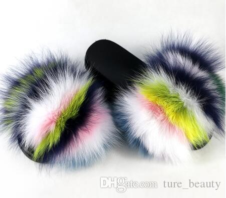 Pelliccia di volpe Diapositive 2019 Open Toe Sandals Fluffy morbide pantofole Pelliccia Pantofole Slip On Sliders Infradito Furry Scarpe Donna 1pairs / 2pcs