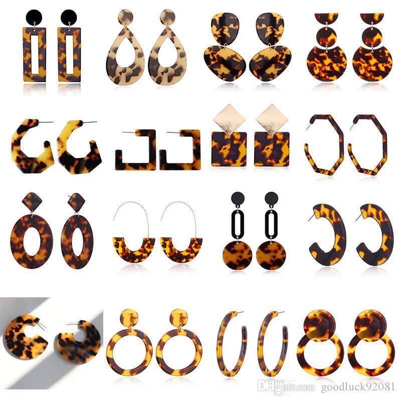 Mode Tortue couleur léopard oreille Goujons feuille acrylique Acide acétique géométrique Cercle carré long Boucles d'oreilles femmes Oreille des animaux Stud