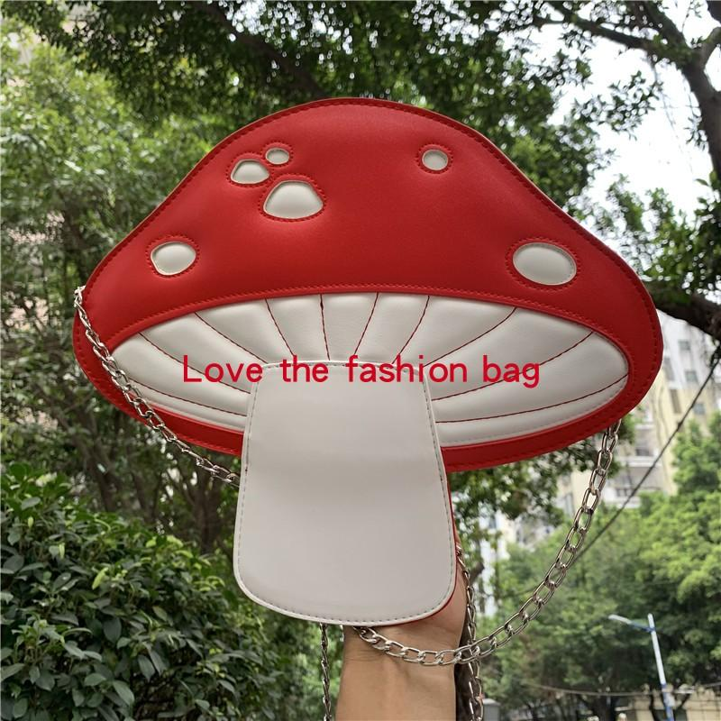 Fashion Shoulder Cute Red Mushroom PU Shape Leather Single Mini Messenger Bag Women's Design Handbag Personality Bag Listm