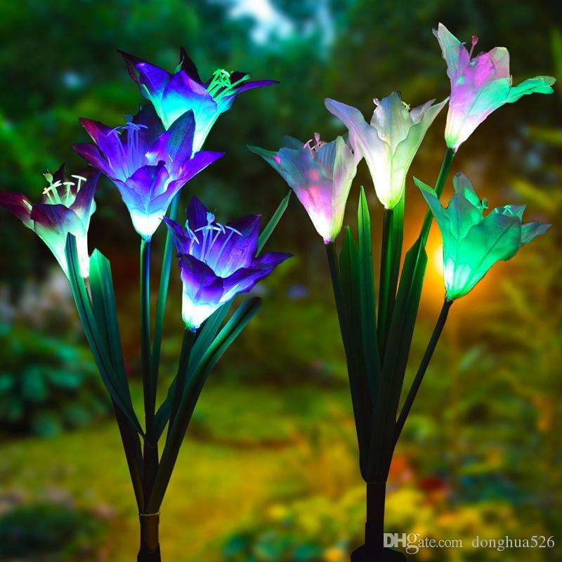 4 Head lily flower Solar Light LED Decorative Outdoor Lawn Lamp Home Garden Fake Flower Night Lights IP55 Waterproof Lampsp