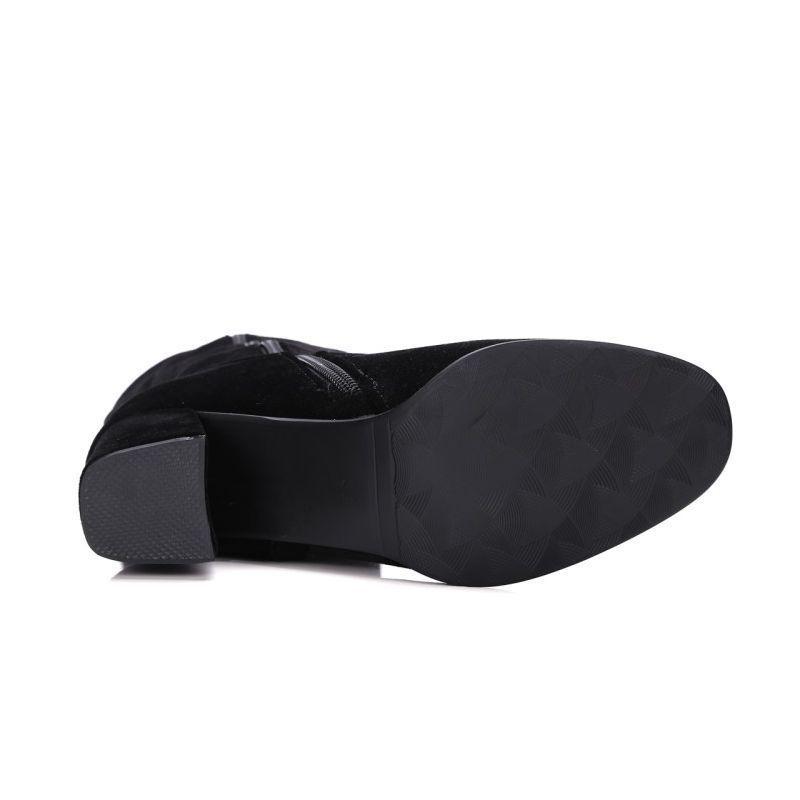 Estilo britânico Womens Ao longo do joelho botas Side Zip Inverno New Fashion Faux camurça do dedo do pé Pointed Calçados fêmeas alta Grosso Calçado Heel