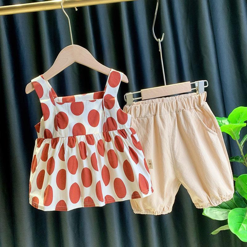 أحدث 2020 2PCS تنورة فتاة الصيف الحمالات تنورة مجموعة أطفال طفلة نقطة فستان بلا أكمام البدلة لطيف طفلة اللباس والأزياء