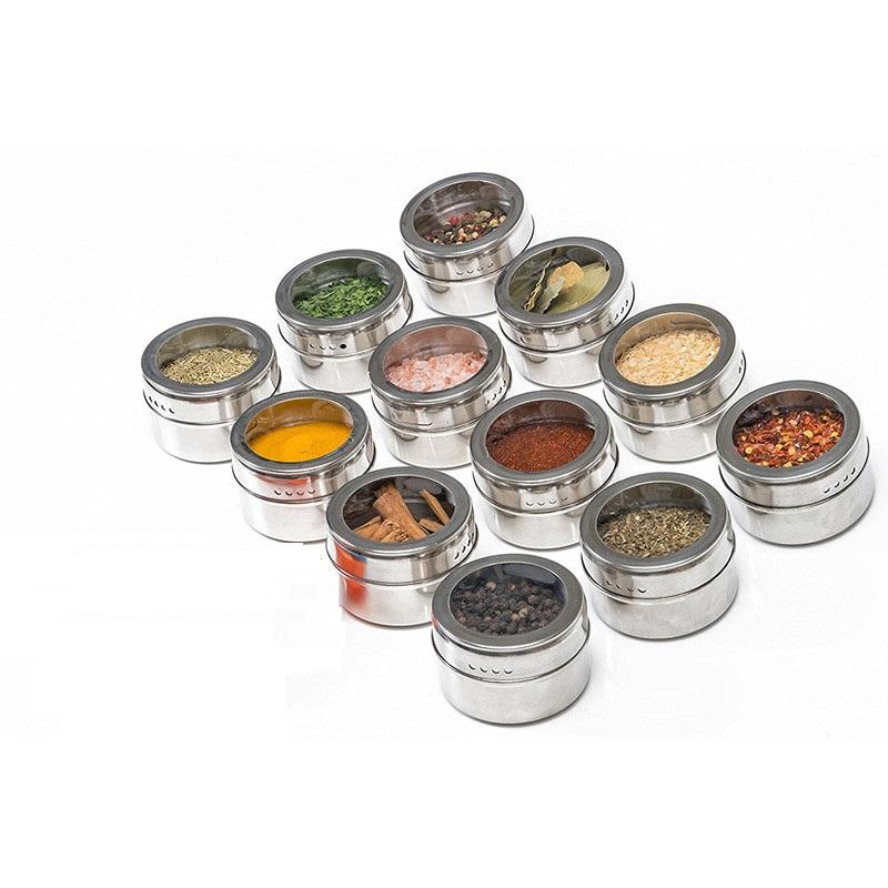 Magnetic Spice Jar Stainless Steel Spice Tins Spice Storage Container Pepper Seasoning Sprays Tools Outdoor Portable BBQ Seasoning Jar