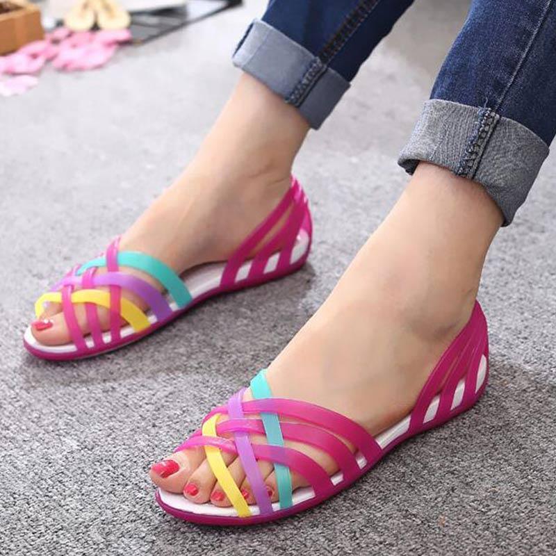 Jelly sandales femmes chaussures transparentes sandales à bout ouvert sandales chaussures de plage dames