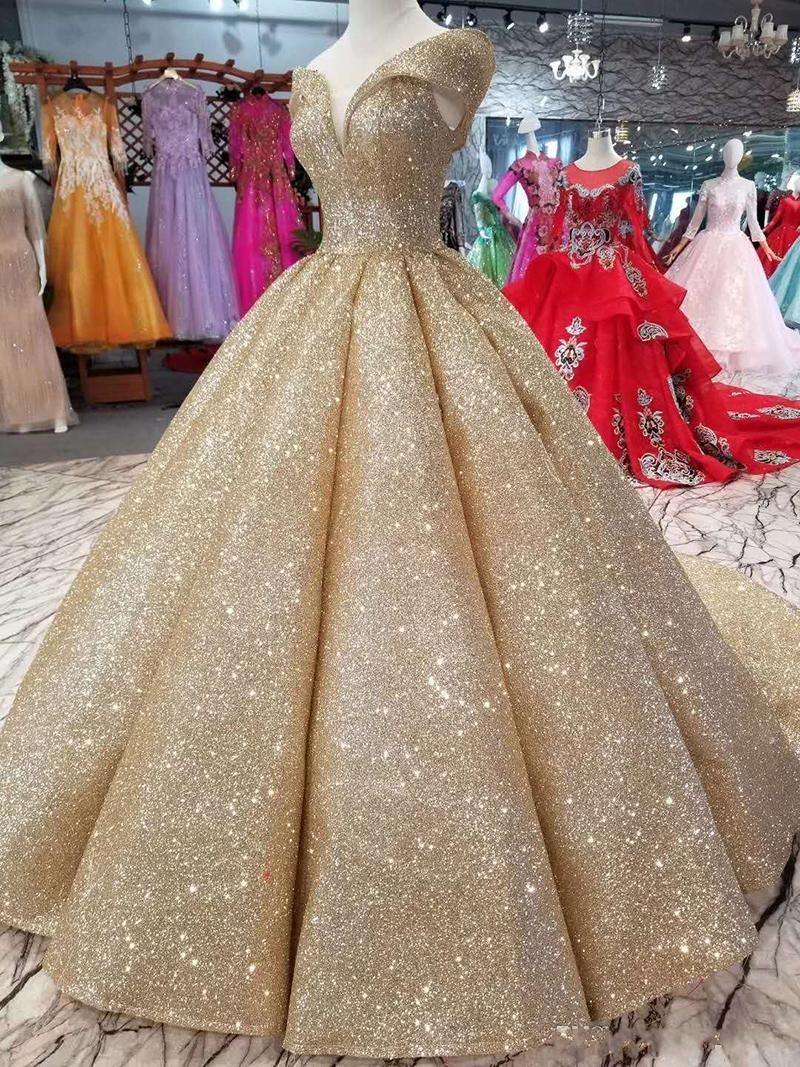 Champagne Reflective lantejoulas vestido de baile Quinceanera Vestidos Alças Ruched Pavimento comprimento Vestido Longo Prom Dress Evening Wear