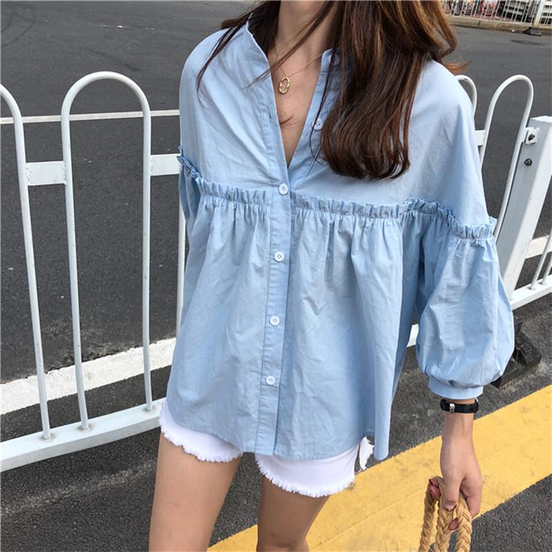 Alien Kitty Donna Solid Light Blue Sweet Shirt Girl New Summer Top Allentato Casual Lanterna Manica Camicia singola riga Y19071101
