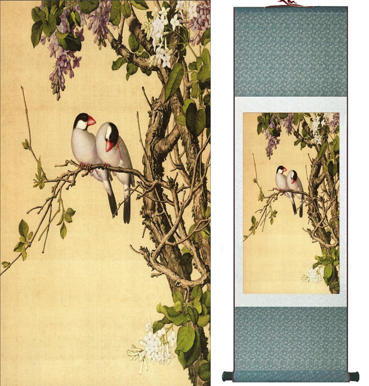 Pássaros da pintura da tinta de Langshining e pintura da lavagem da tinta da mola da pintura da flor