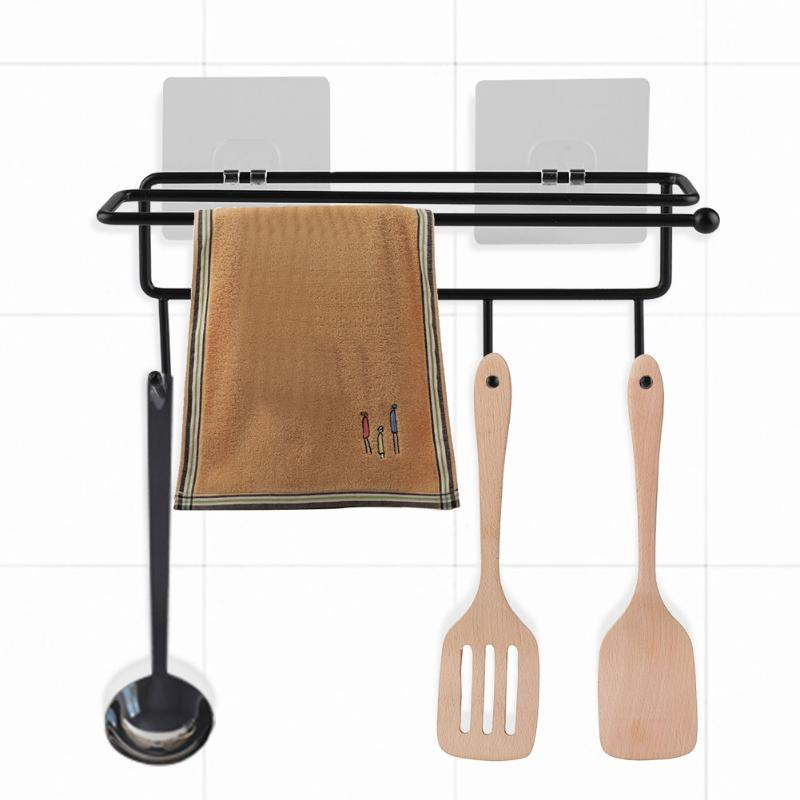 Mutfak Demir Havluluk Makas Rulo Kağıt Kanca Banyo Depolama havlu, bez, rulo kağıt asmak için Raf