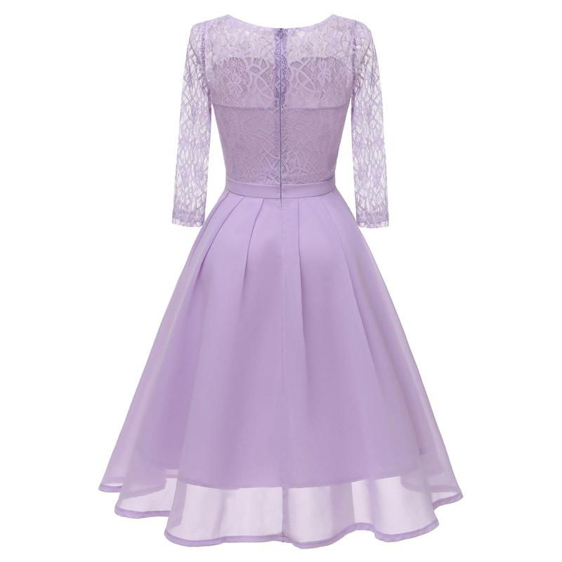 short Solid color lace evening gown chiffon party dresses prom gown wholesale fashion Evening Dress Big yards formal dress