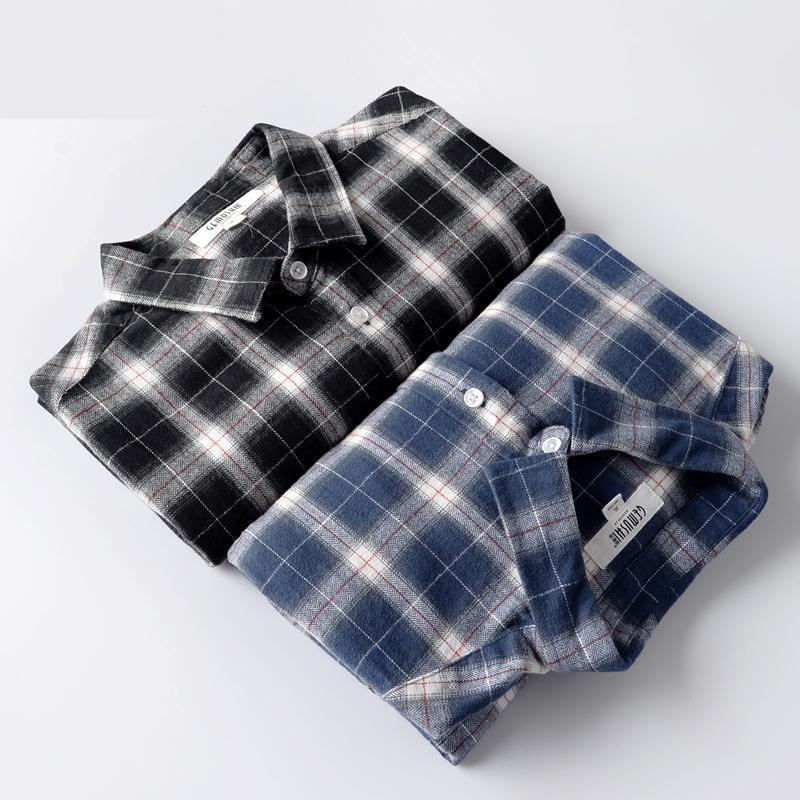 Yeni Geliş Moda Fanila% 100 Pamuk Casual Gömlek Ekose Erkek Uzun Kollu Yüksek Kalite Artı boyutu S-XL2XL3XL4XL5XL6XL
