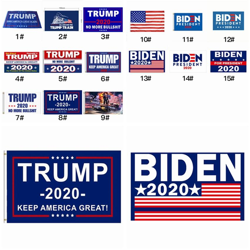 15 Стили Donald Trump Флаги 2020 Американский президент Keep America Great Party Banner Flag 90 * 150см Джо Байден Выборы Флаг ZZA2314 30шт