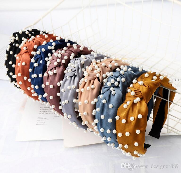 New Pearl Headband Simples Cabelo Knotted Headdress Arco Design Hairband Boutique Hair Sticks Cabelo Encantador Acessório Livre Navio