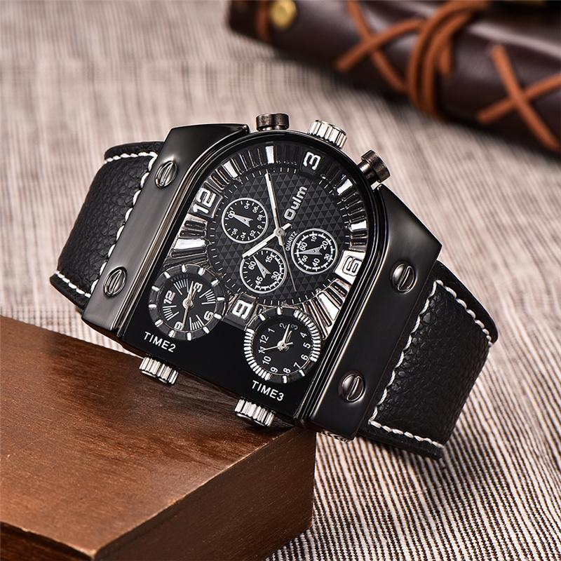 Luxury Brand Oulm Watch Quartz Sports Men Leather Strap Watches Casual Male Military Wristwatch Dropshipping relogio masculino LY191213