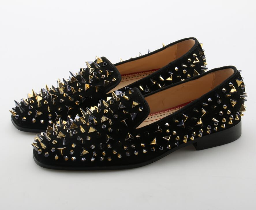 JAWAKYE Gold Spike Rivets Men Shoes
